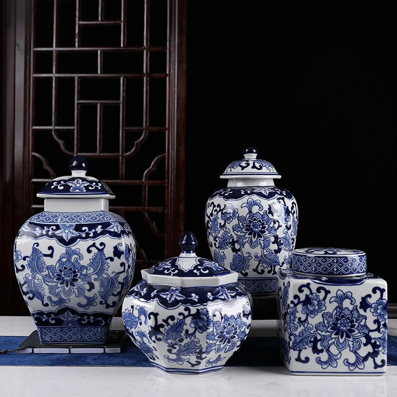 Classical Blue and White with Lid Flower Arrangement Large-capacity Flower Pot Porcelain Household Storage Jar Sealed Tea Caddy