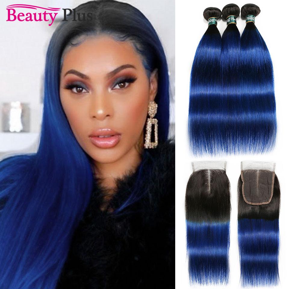 4 حزم مع إغلاق الجذور الداكنة 1B الأزرق البرازيلي مستقيم الإنسان الشعر الجمال زائد Nonremy مستقيم حزم مع الدانتيل الإغلاق