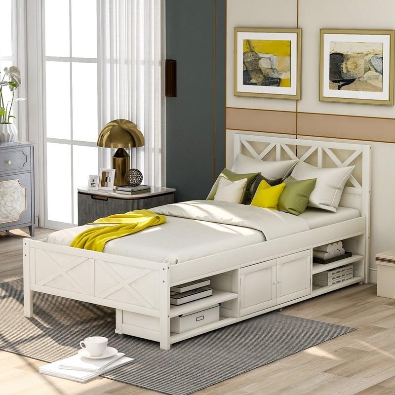 Twin Größe Plattform Bett Mit Lagerung Bett Holz Bett Rahmen Hause
