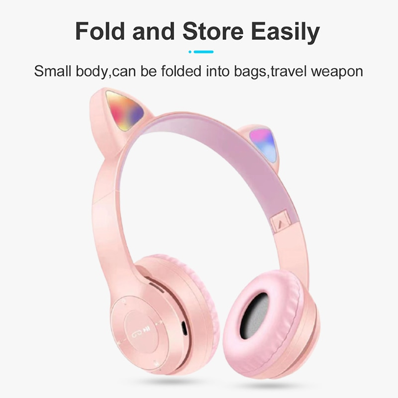 Flash Light Cute Cat Ears Bluetooth 5.0 Wireless Gaming Headphones With Microphone Kid Girl Stereo Music Helmet Phone Headset enlarge