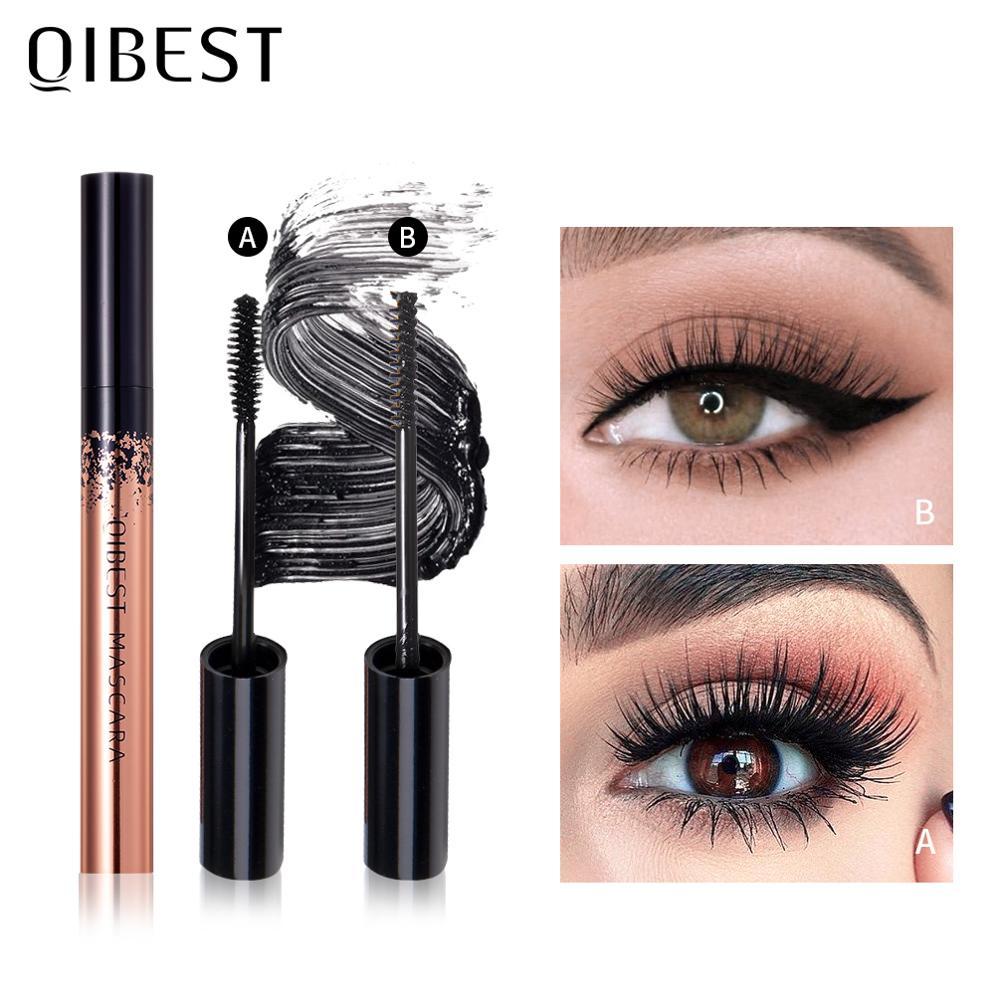 QIBEST-rímel negro de ojos, máscara 4D de seda, alargamiento de pestañas, cosméticos para ojos, máscara rizadora, resistente al agua, volumen, maquillaje de pestañas