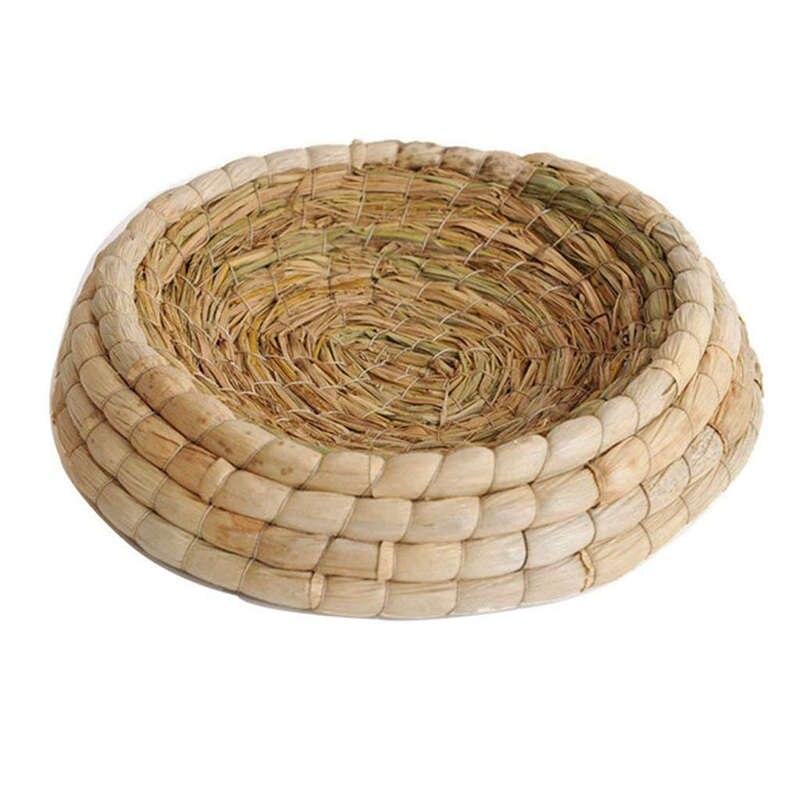 Aves tejidas a mano nido hojas de maíz y cama de incubación de paja cortejo Casa de cría para paloma/conejo enano/conejo/paloma/hámster/