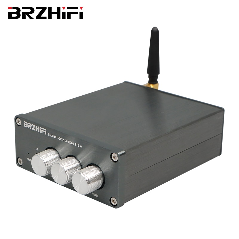 BRZHIFI بلوتوث متوافق 5.0 HIFI ستيريو مكبر كهربائي رقمي TPA3116 50 واط * 2 رمادي صوت صغير الصوت أمبير المسرح المنزلي