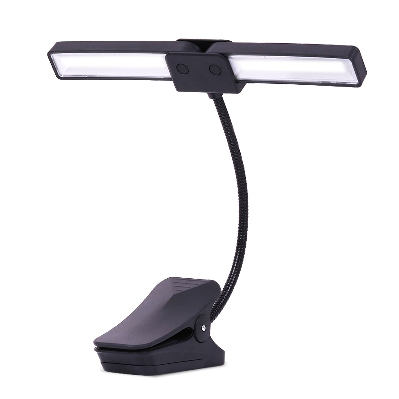 Light Music Stand Portable Battery Powered Music Score Stand Lamp Book Reading Led Light Foldable Double-Headed Piano Light