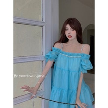 Real Shot Cost-Effective Sling off-Shoulder Fairy Dress Sweet Connection