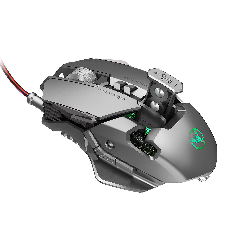 HXSJ J800 механический Проводная Мышь 7 ключей макро программирования Мышь с шестью регулируемыми Точек на дюйм Красочные RGB светодиодный светильник эффект Мышь