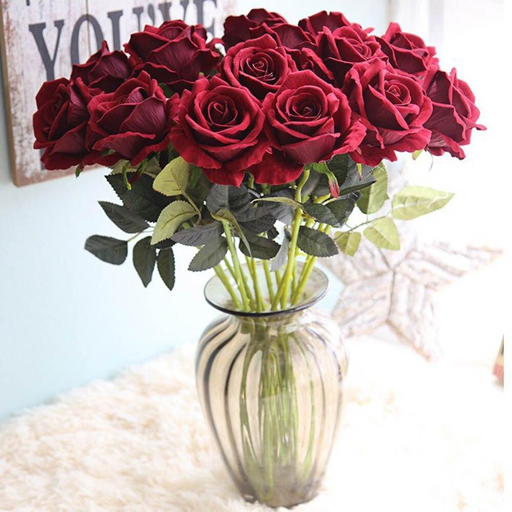 20 teile/los 50cm Rosa/Rot/Weiß/Blau Flanell Rose Für Hochzeit Party Favor Hotel Bankett Dekoration kunststoff Künstliche Blume