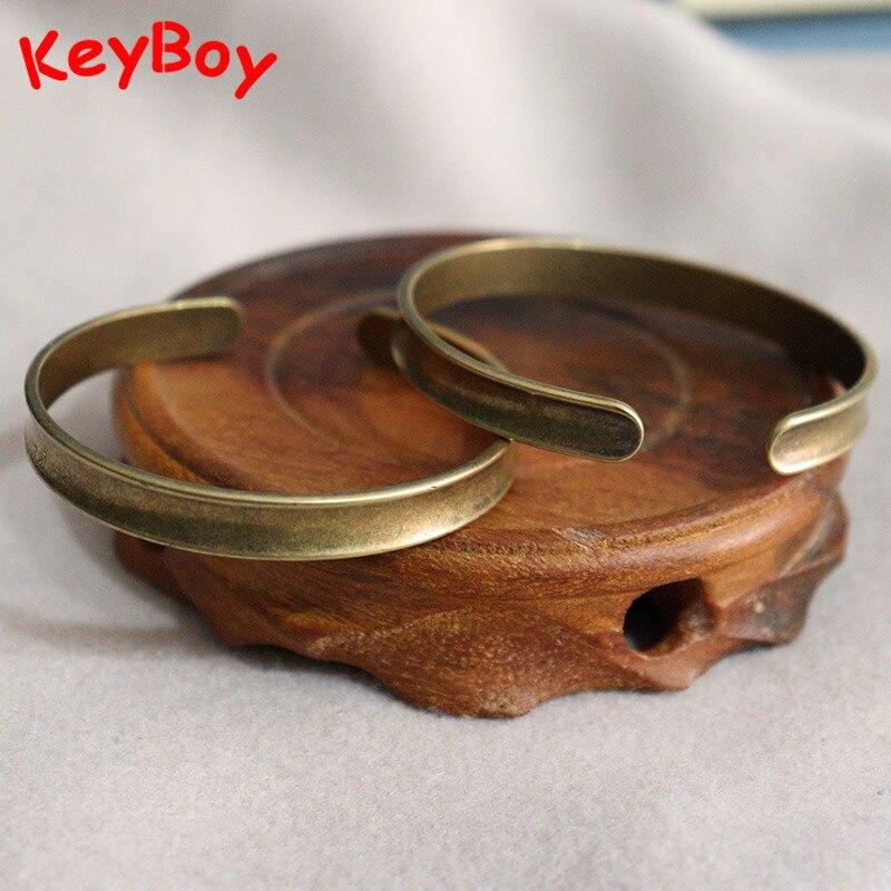 Винтажные латунные Женские браслеты, ювелирные изделия из чистой меди, DIY аксессуары для браслета, модный простой браслет для мужчин, ручная...