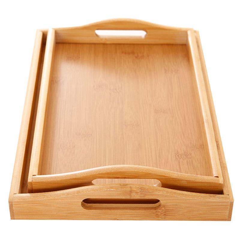 Поднос для сервировки бамбука с ручками, поднос для чая, поднос для бара, поднос для завтрака, поднос для еды C90D