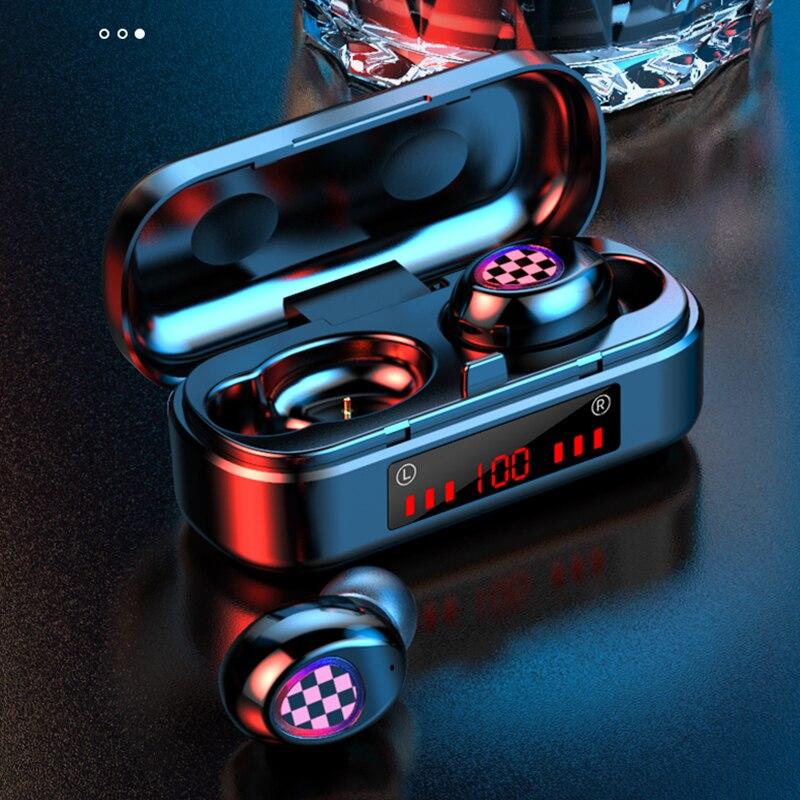V7 TWS auriculares Bluetooth inalámbricos 5,0 Control táctil impermeable 6D estéreo deporte música auriculares 300mAh caja de carga