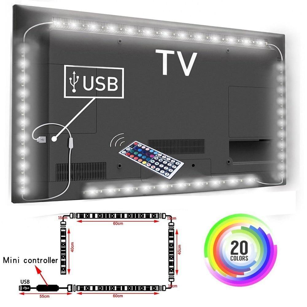 5V RGB STRIP, TV Backlight , USB Powered LED strip light ,RGB5050 For 24 Inch-60 Inch TV,Mirror,PC, APP Control Bias