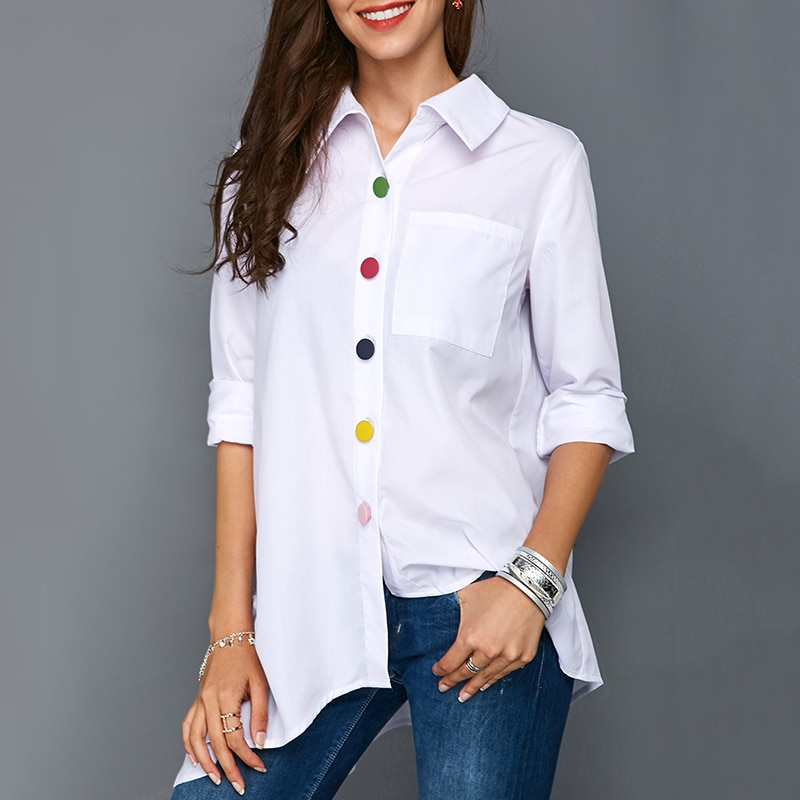 Irregular Thin Women Office Lady Shirt Top Plus Size Colorful Button White Long Sleeve Feminine Blouses Tops Summer Lady Shirts