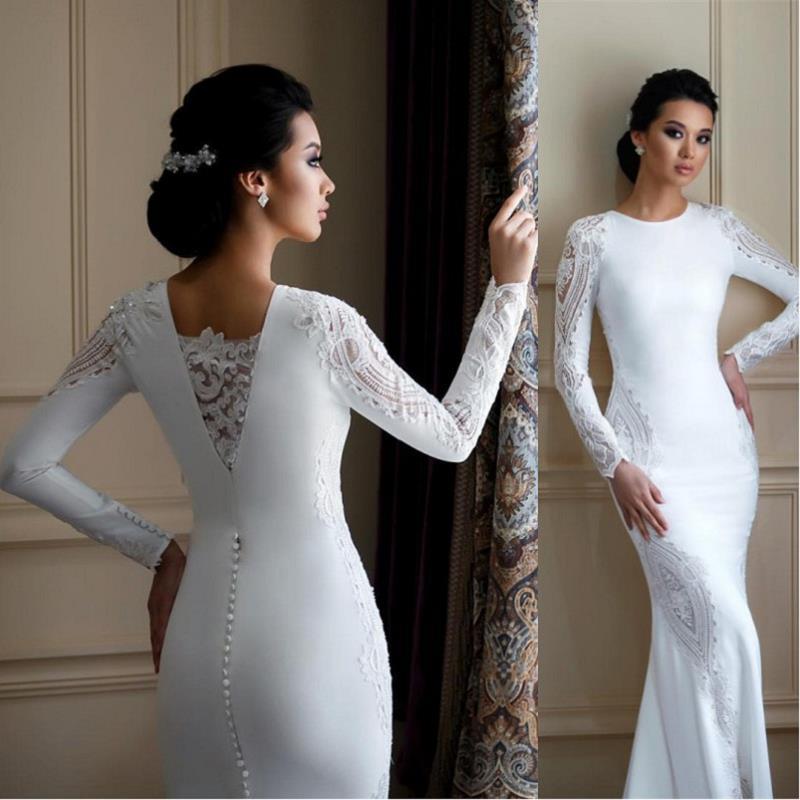 Vintage Mermaid Wedding Dresses 2021 robe de mariee Long Sleeve Wedding Gowns Lace Satin Handmade Bridal Dress Free Shipping