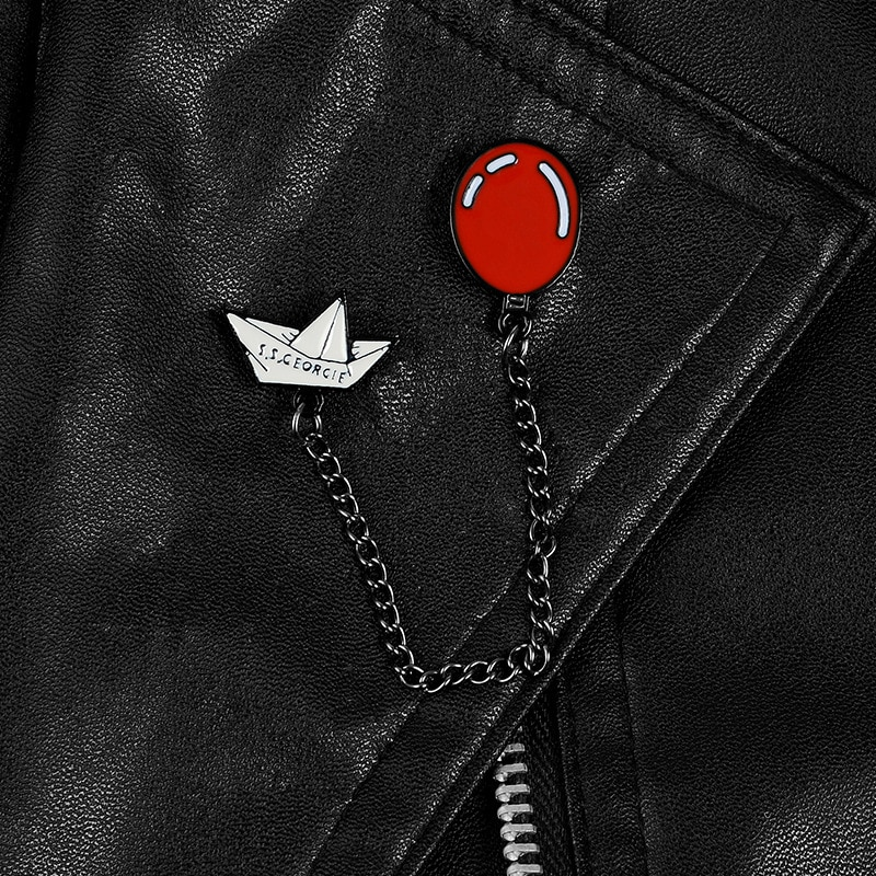 XEDZ romantic red glowing balloon metal chain alphabet origami boat brooch childhood memories souvenir gift backpack lapel pin  - buy with discount