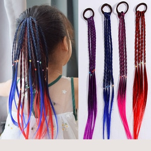 4 pcs/lot New Girls Elastic Hair Band Rubber Band Wig Pontail Headband for Kids Twist Braid Rope Headwear Hair Accessories