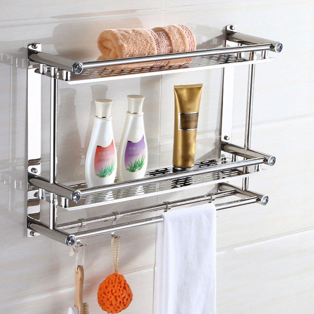Bath Towel Shelf Rack Bathroom Holder Double With Hooks Anti-rust Wall Mounted Hanging Washbasin Washroom Storage Sorting