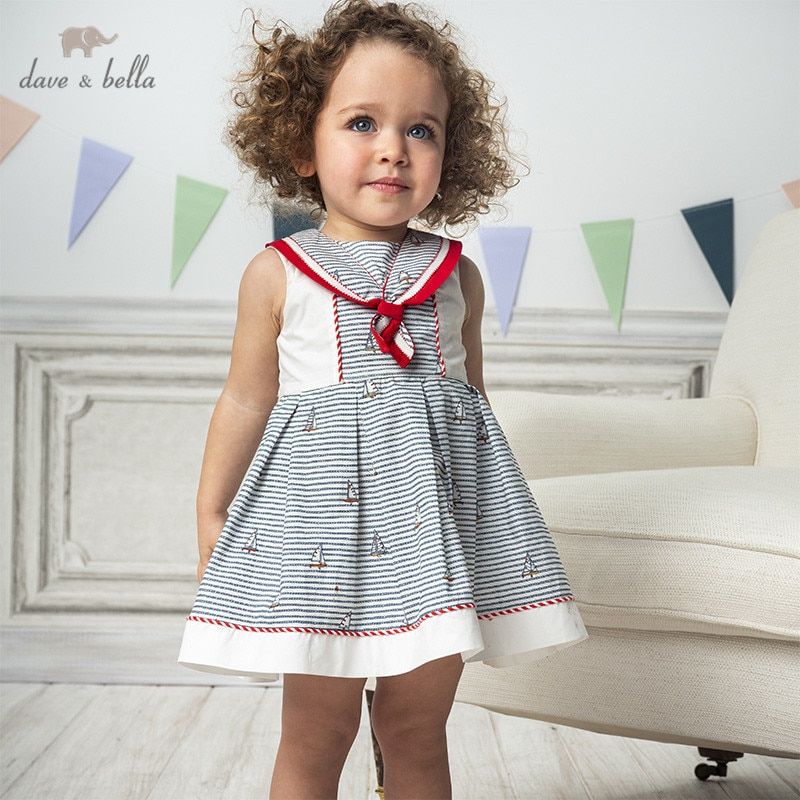 Dave bella/DB13002 летнее платье в полоску с принтом для маленьких девочек, модные вечерние платья для детей, детская одежда в стиле Лолита Платья для девочек    АлиЭкспресс