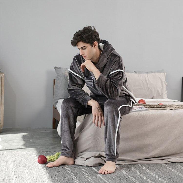 2021 новинка с капюшоном фланель мужчины% 27 пижама брюки 2 шт.% 2Fet зима толстые теплые пижамы для пар повседневный свободный дом костюмы комплект