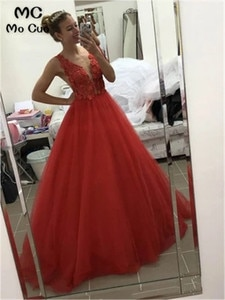 Red Puffy Evening Dresses Long Prom Gown Double V-Neck Lace Flowers Sleeveless Tulle Women's Evening Prom Dress Custom Made