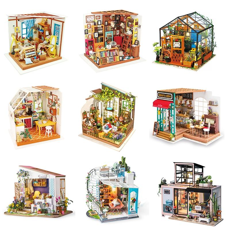Robotime-مجموعة بناء بيت الدمية الخشبية للأطفال والكبار ، لعبة بناء نموذج مصغر ، مقياس 1:24 ، صناعة يدوية