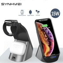 3 in 1 15w Qi Wireless Quick Charger Stand Dock For Apple iWatch AirPods iPhone Samsung Xiaomi Phone