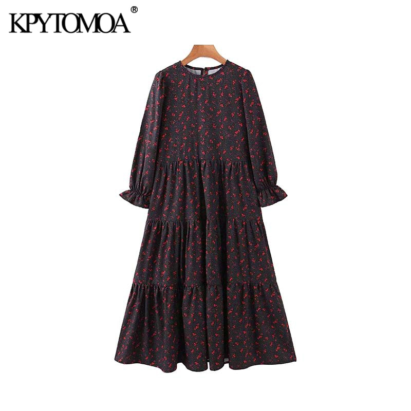 Vintage Elegant Print Pleated Midi Dress Women 2020 Fashion O Neck Long Sleeve Female Dresses Casual Vestidos Mujer