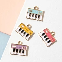 10pcs enamel gold color piano charm pendant for jewerly diy making bracelet women necklace earrings accessories findings craft