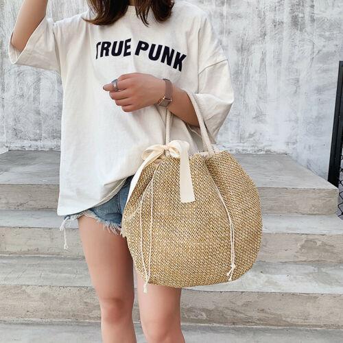 Women's Summer Fashion Straw Bag Beach Rattan Shoulder Bags Wicker Weave Handbag