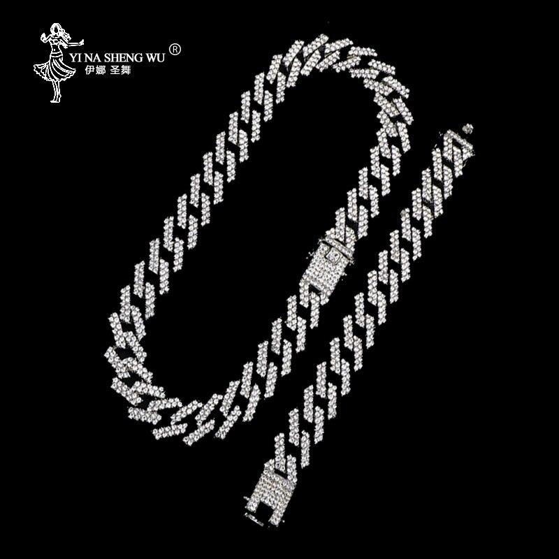 Juego de 2 filas de collares de eslabones de cadena cubanos de Miami, de 19MM, Color plata, con diamantes de imitación, cadenas de Hip Hop para hombre
