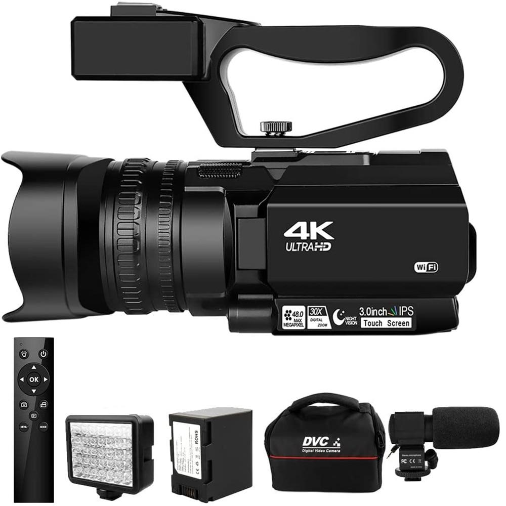 Видеокамера 4K Ultra HD, видеокамера 48 МП для YouTube, живая трансляция, 30X цифровой зум, ИК Ночная камера, сенсорный экран