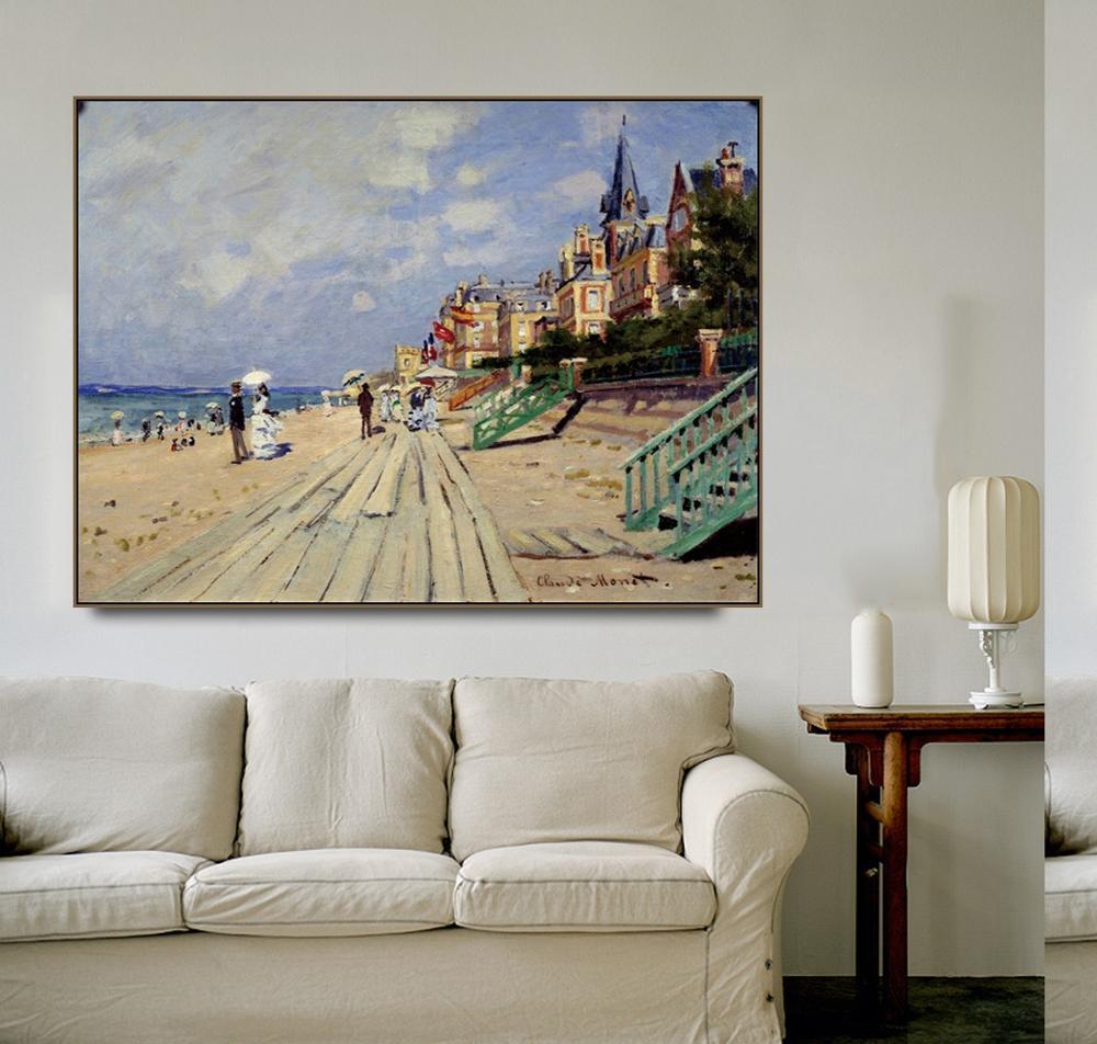 Cassisy lienzo pintura al óleo 《 playa en Trouville Claude Monet Imagen Arte póster moderno hogar Sala Decoración