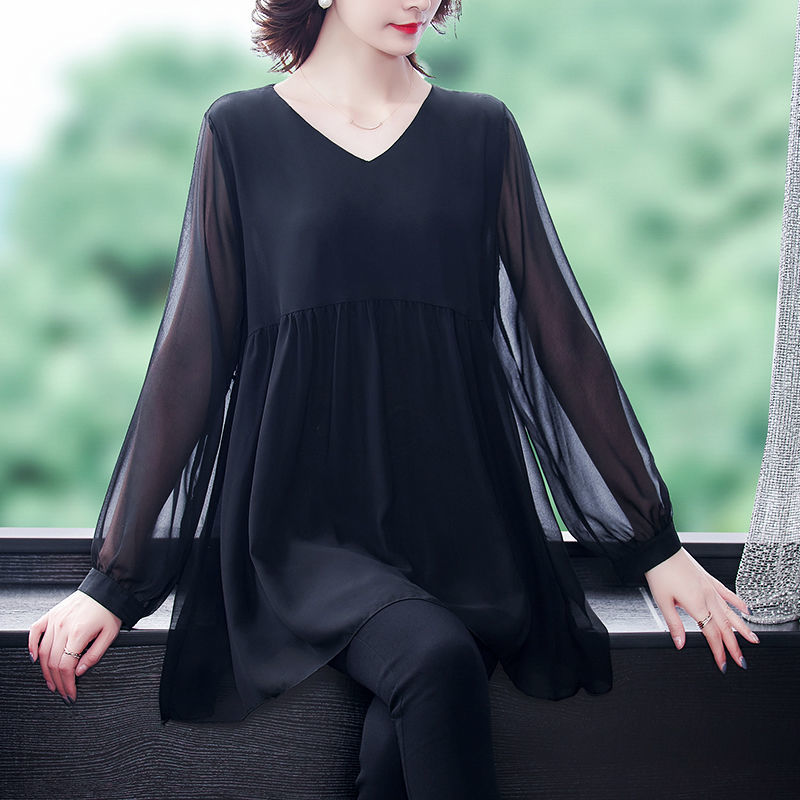 2021 Spring Loose Chiffon V-neck Long Sleeve New Bottoming Shirt Plus Size Women's Casual Slim Top Dress Solid Color
