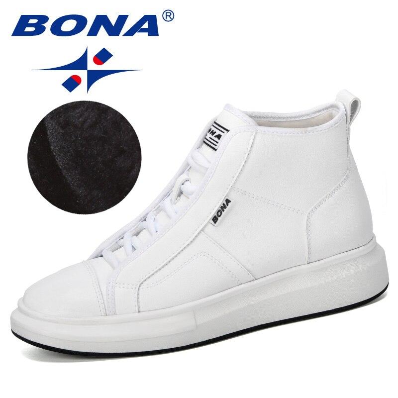BONA 2019 New Designer Popular Sneakers Men Autumn Winter High Top Men's Shoes Casual Men's Boots Plush Anti-Slip Man Footwear