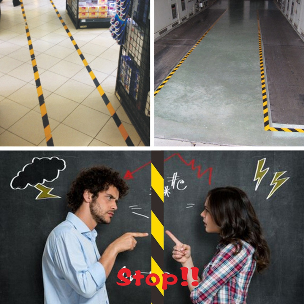33M Pvc cualquier ocasión recordatorio de peligro rollos Auto adhesivo suelo almacén seguridad llamativo distancia marcar cinta Dropship # E