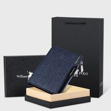 WILLIAMPOLO petit portefeuille hommes Denim sac à main porte-carte de crédit porte-monnaie loisirs permis de conduire Zipper portefeuille 2019 mode