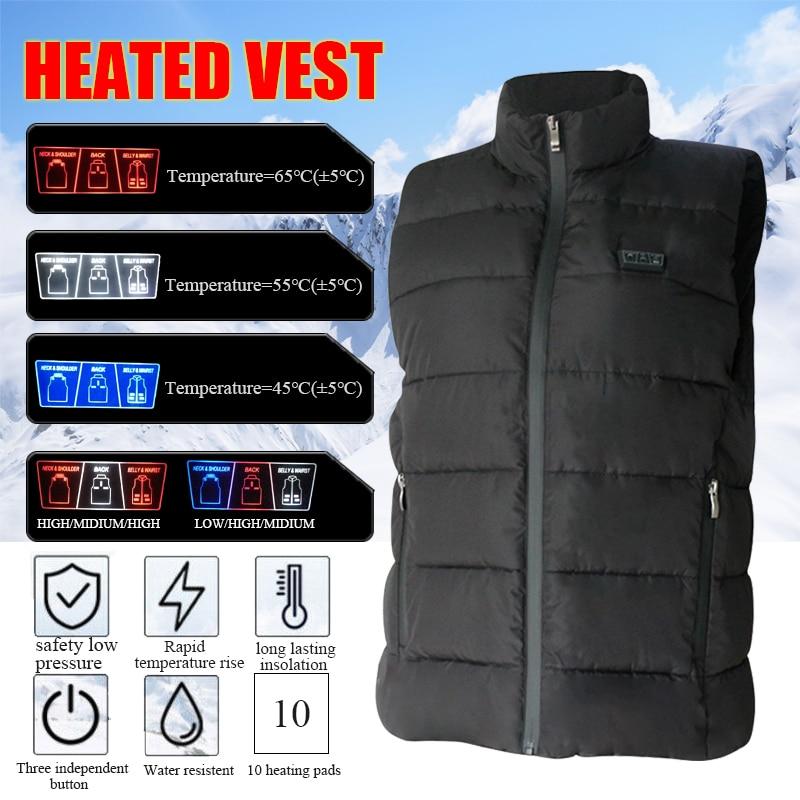 Жилет с подогревом и USB-зарядкой для мужчин и женщин, теплый жилет, куртка без рукавов, пальто, зимний теплый жилет