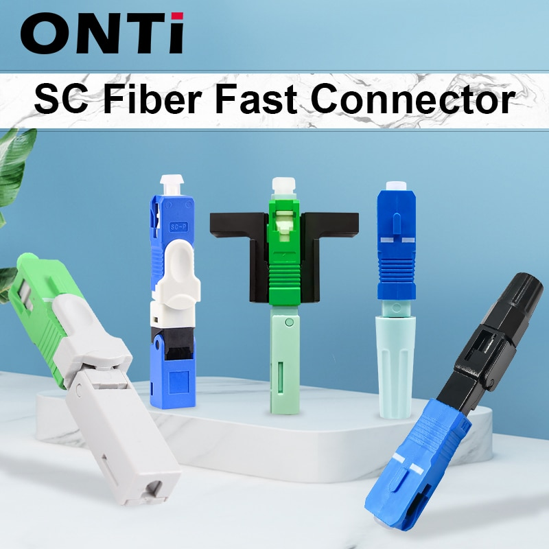 ONTi 200-400pcs FTTH Embedded Fiber Optic Fast Connector SC APC Single Mode Fiber Optic Adapter SC UPC Cold Quick Field Assembly