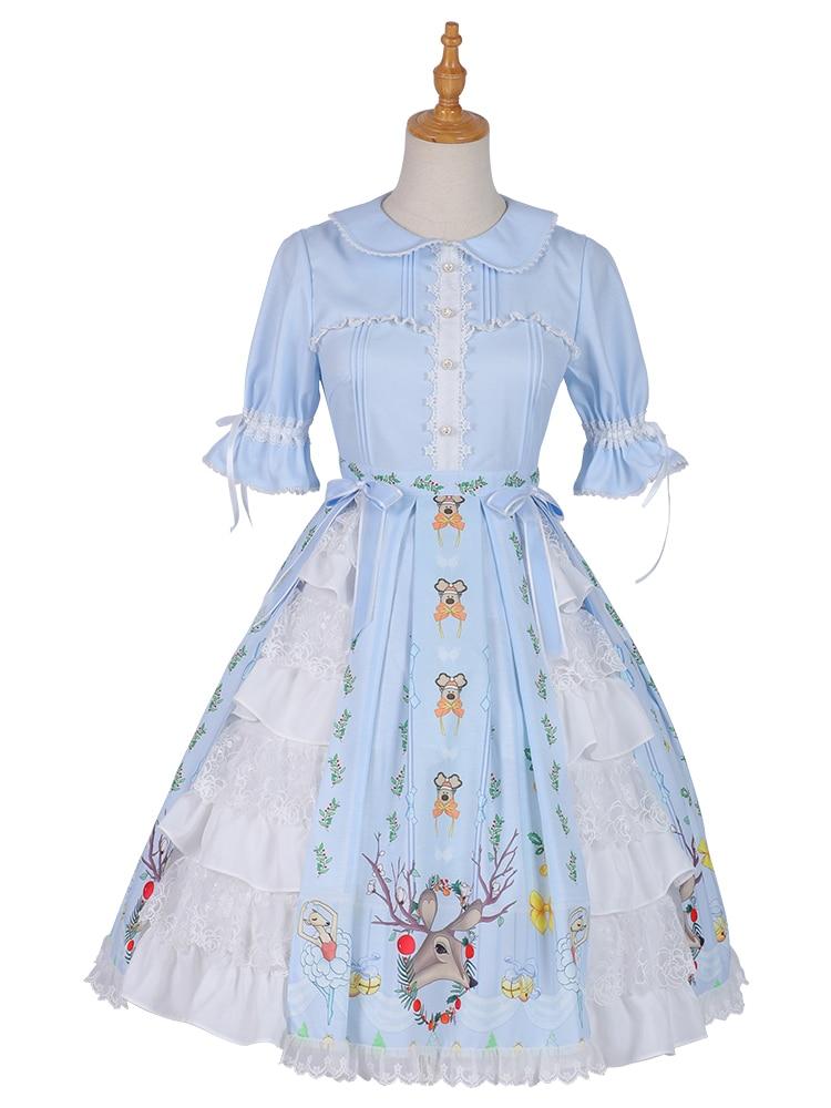 Lolita OP vestido azul manga corta estampado 3D Deer Sweet Lolita vestido para niñas