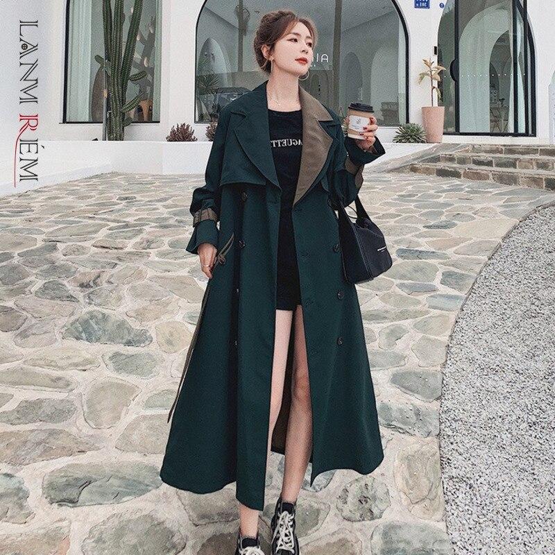 LANMREM 2021 الخريف الشتاء جديد مزدوجة الصدر سترة واقية المرأة طويلة الأكمام الأخضر الداكن التلبيب خندق الإناث الموضة 2W602