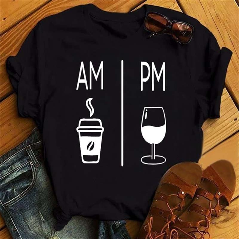 Camiseta con estampado de copa de vino para Mujer, Camiseta divertida de...