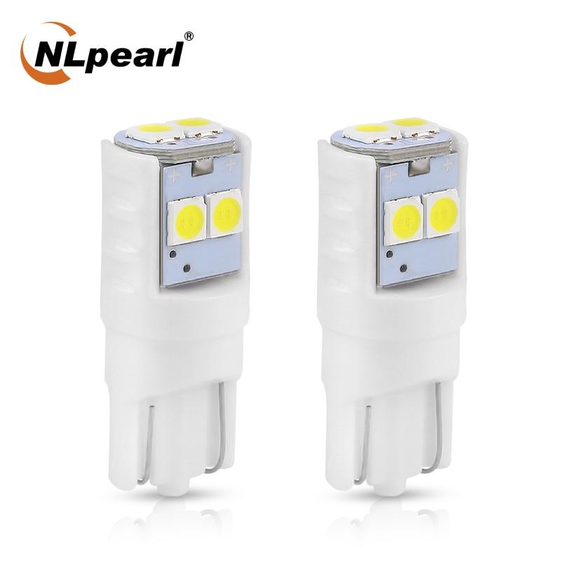 Lámpara de señal NLpearl 2x T10 W5W Led para lectura Interior de coche, lámpara de cúpula de cerámica blanca 3030SMD W5W Canbus luces para matrícula automática 12V