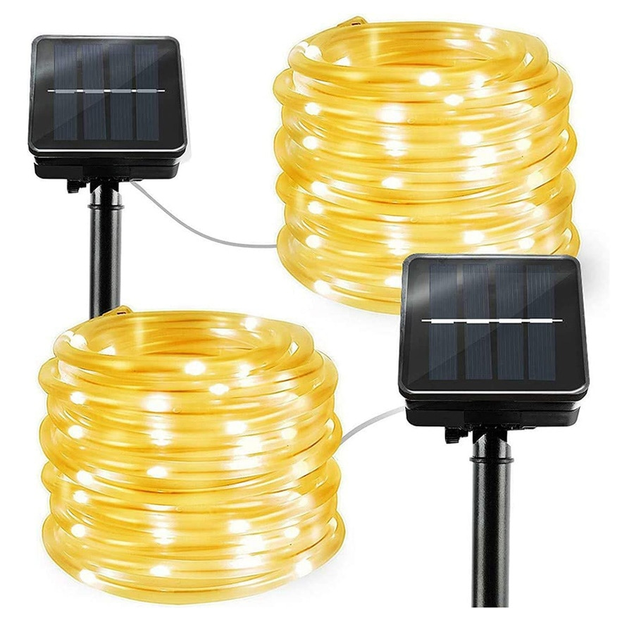 Thrisdar 100/200LED Solar LED cuerda tubo luz 8 modo exterior jardín Solar alambre de cobre guirnalda de luz