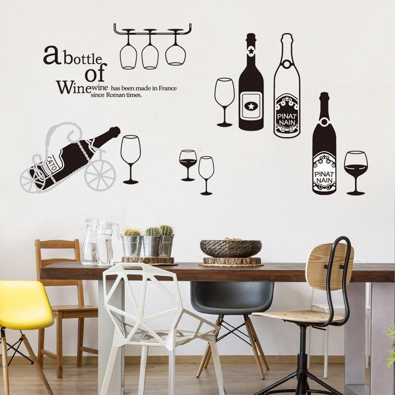 Botella de vidrio de arte Mural Decoración de casa de vino rojo de la pared pegatinas de calcomanías de paredes de Cocina TV sofá decoración pantalla Mural cortina de fiesta