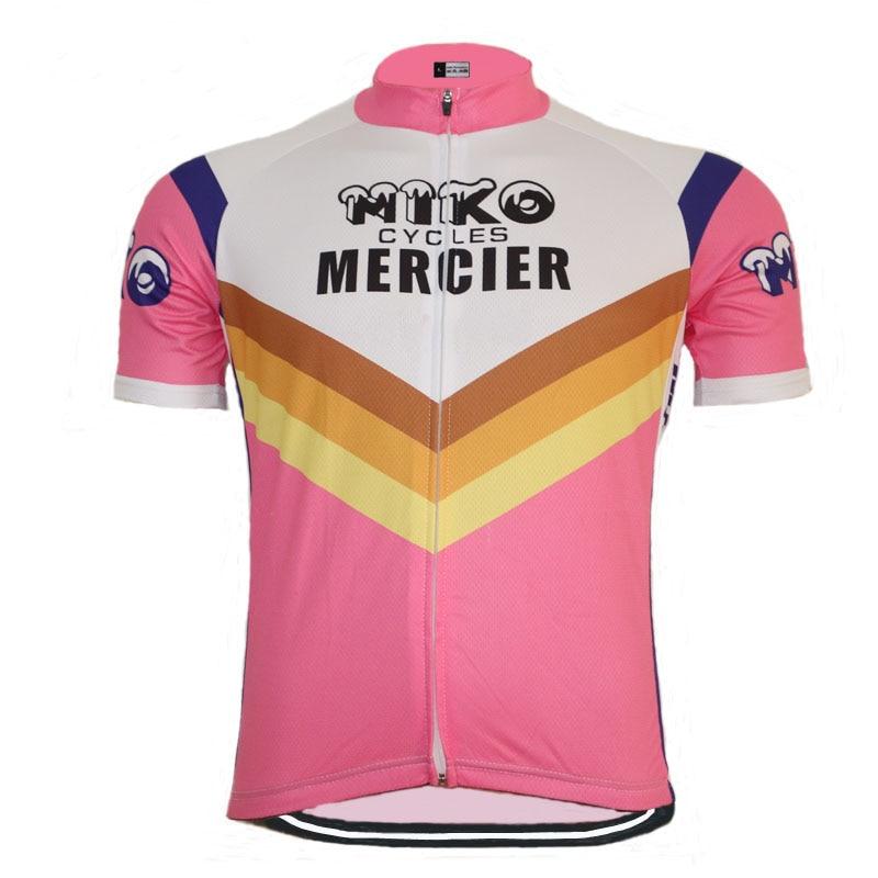 Jersey de ciclismo de manga corta, color rosa, Ropa clásica para ciclismo de montaña, Ropa Retro de verano para exteriores