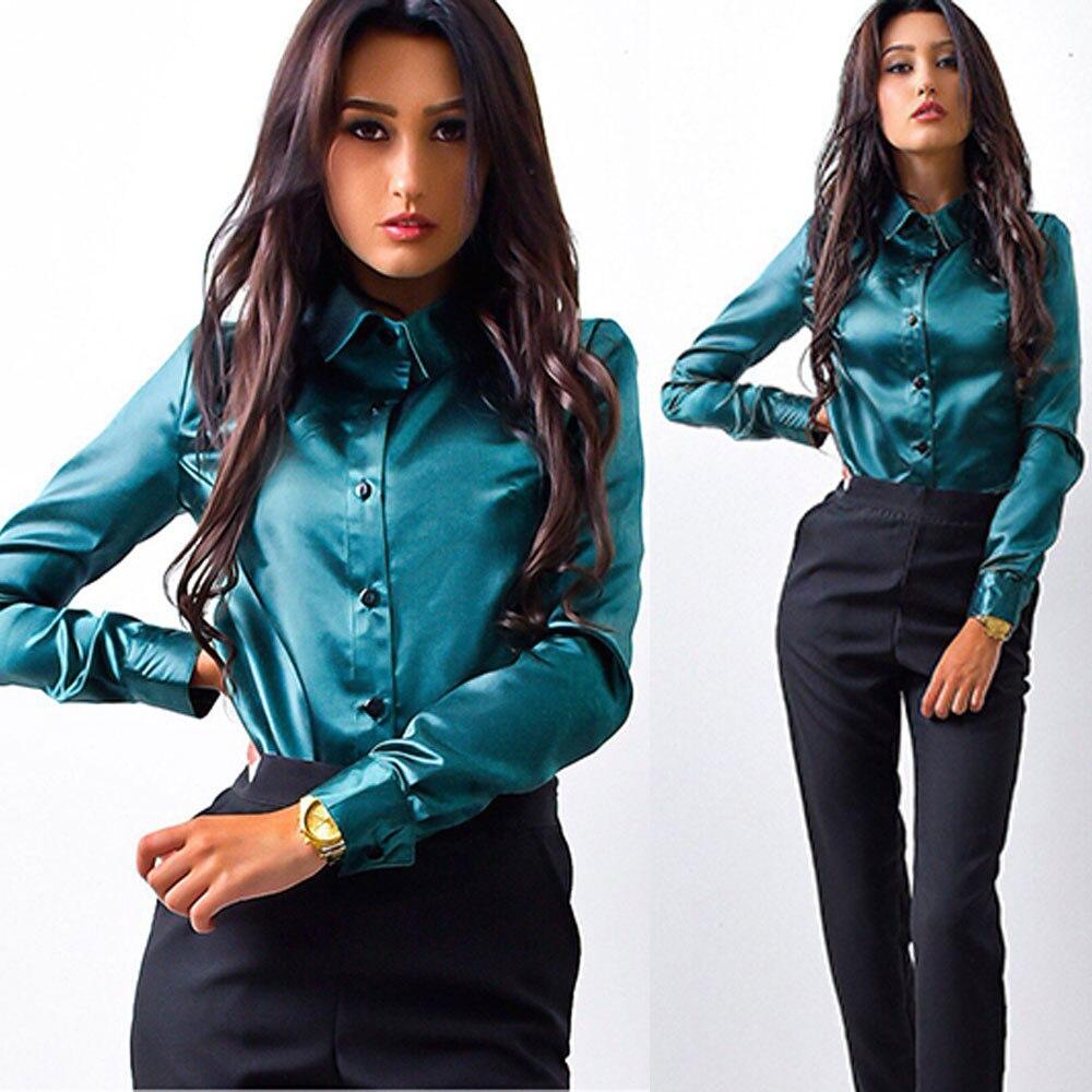 Spring OL Shirt Satin shirt Long Sleeve Blouse Women button shirt Work wear shirts Elegant Blouse Shirts women clothes