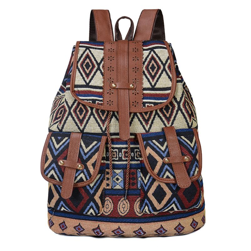 High Quality Vintage Print Canvas Ethnic Backpack for Women Girls School Backpacks Drawstring Bohemia Travel Rucksack