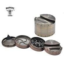 Broyeur en alliage de Zinc lourd HORNET Dia.80MM 4 couches broyeur de tabac broyeur herbe/moulin à épices avec stockage de porte-papier