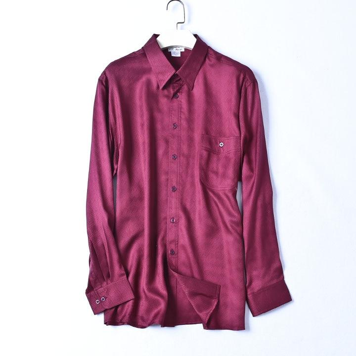 Blusas de seda 100% natural para hombre OL vino rojo de manga larga de seda Real de San paddy,