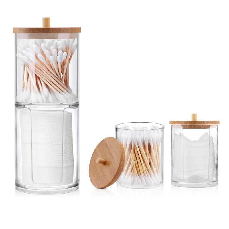 Acrylic Multifunctional Round Cotton Swabs Receive Box Portable Transparent Makeup  Box Bathroom Jew