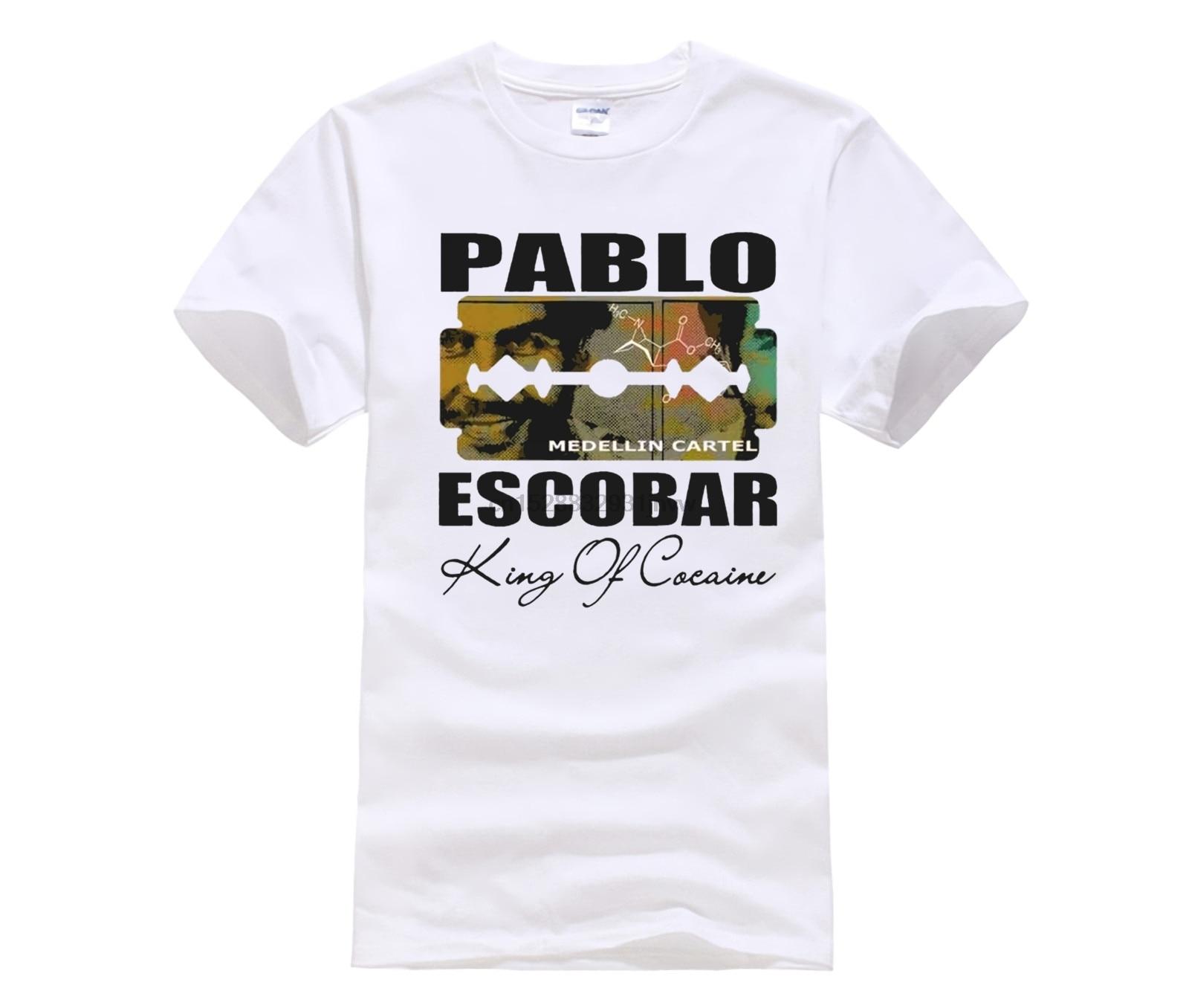 HOT deals Pablo Escobar T-Shirt Medellin Cartel King of Plato A Plomo Colombian Short Sleeve Men T Shirt Tops Summer Fashion